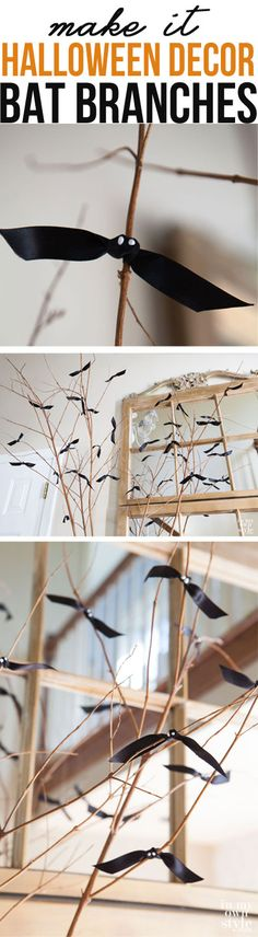 how to make bat branches for your Halloween decor.