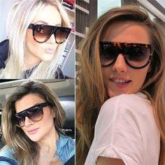 001599d088159a Vrouw oculos Platte Top Grote Spiegel Zonnebril Eyewear gafas de sol Cat  Eye Zonnebril Vrouwen Designer