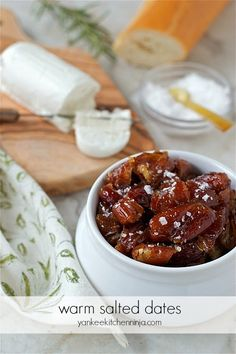 Warm salted dates (serve with goat cheese on crostini as an app) | yankeekitchenninja.com