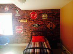 Boys Garage Bedroom - garage - brick wall - vintage sign - car theme - truck - vintage bed - rustic - cobra - mustang - shelby