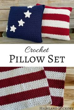 Crochet the Americana Pillow pattern that matches the Old Glory American Flag Afghan pattern. This pattern is easy, quick and free.