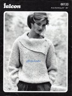 womens knitting pattern womens aran sweater pattern ladies aran jumper button collar - 32-40 inch aran knitting pattern pdf instant download