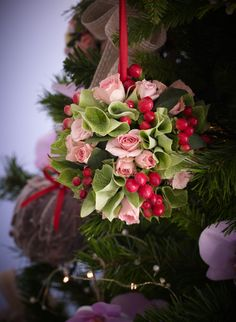 Floral pomander hanging from the #christmas tree