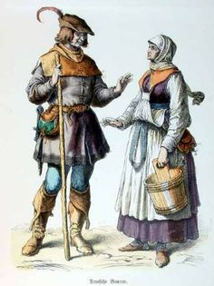 An poster sized print, approx (other products available) - German peasants of the early century. Date: circa 1515 - Image supplied by Mary Evans Prints Online - Poster printed in the USA Farmer Outfit, Medieval Peasant, Poster Size Prints, Art Prints, Classical Antiquity, Landsknecht, Late Middle Ages, Medieval Manuscript, Renaissance Fashion