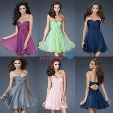 Stock Short Chiffon Beaded Wedding Bridesmaid Prom Mini Cocktail Party Dress!!