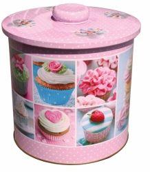 Plechová dóza na cukroví s motivem cupcakes Velký č. 66/21582 BOX2