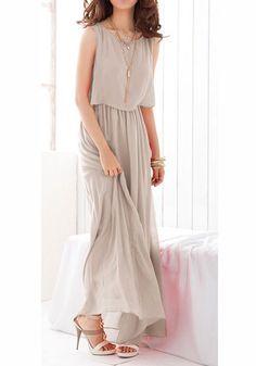 Light Grey Pleated Sleeveless Wrap Bohemian Chiffon Dress