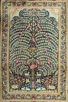 Persian Isfahan rug, tree of life design. flowers and birds on blue background. 160X240 cm, Tiroche Auction House