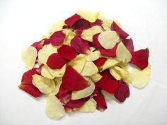 Classic mix for winter weddings - Red and Cream Rose Petals