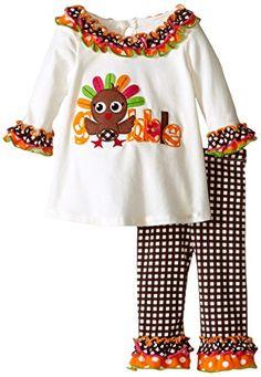 e8e078c2c69a Bonnie Baby Baby-Girls Infant Gobble Owl Appliqued with Check Pant Legging  Set: Turkey gobble appliqued knit playwear set with check printed legging