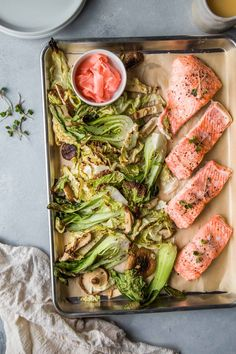 Sheet Pan Salmon with Pickled Ginger Butter Sauce will be on your dinner table in less than This impressive, delicious and healthy meal is the perfect way to elevate your weeknight cooking. Easy To Make Dinners, Easy Dinner Recipes, Easy Meals, Salmon Recipes, Seafood Recipes, Dinner With Mushrooms, Veggies, Ginger Sauce, Recipes