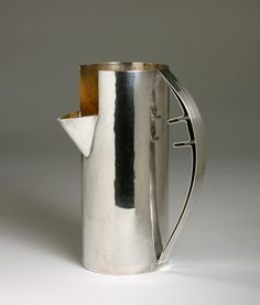 Carlo Scarpa  Pitcher  Designed in 1978 for Cleto Munari, manufactured by Rossi & Arcandi Italy, 1989 Sterling silver, inside gilded