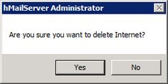 Are you sure you want to delete Internet?