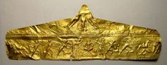 Attic Greek Gold Leaf Diadem, C. 450 BCThis extremely rare and elegant Dionysian diadem is probably a royal tomb find. This Diadem portrays at least ten figures, including two men on horseback, plus numerous animals. This is a Hunting Scene, very...