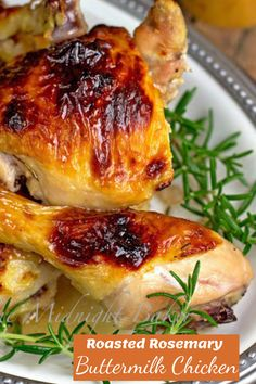 Oven Roasted Chicken, Rosemary Chicken, Buttermilk Chicken, Easy Weeknight Dinners, Good Healthy Recipes, Poultry, Main Dishes, Tasty, Herbs