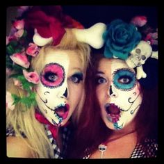 Day of the dead makeup....love the hair with bones!!!