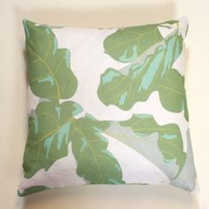 Fiddle Fig Leaf Pillow on striped sofa would be nice