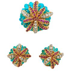 French Turquoise, Ruby and Diamond  Brooch with Matching Earrings - TEW Galleries