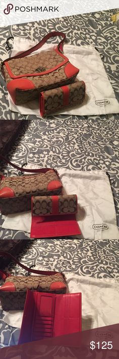 Coach Handbag and matching wallet Coach women's handbag and matching wallet. In great condition. Tangerine orange and light brown. Only used seasonal Coach Bags Shoulder Bags