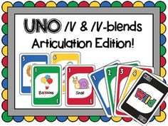 UNO Articulation game for /l/ and /l/-blends -- Speech therapy