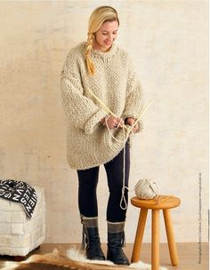 Fancy a cuddly new jumper but don't have the time or patience for weeks of knitting? Use super-big needles and extra thick wool and you'll be rugged up in next to no time Big Needle, Cool Magazine, Hobbies, Men Sweater, Photoshoot, Fancy, Crafty, Wool, My Favorite Things