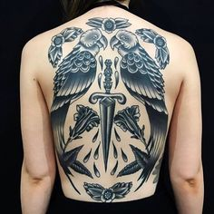 """Kathryn Ursula on Instagram: """"A few people recently have asked if I do my designs without colour. I personally love using colour but will always be more than happy to do…"""" Back Tattoos, Tatoos, Parrot Tattoo, Body Modifications, Ursula, Body Painting, Tatting, My Design, Piercings"""