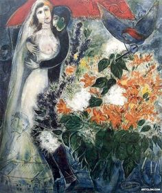 Marc Chagall, The Bride under the Canopy 1949 on ArtStack #marc-chagall #art