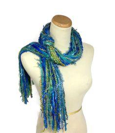 Blue Scarf Fringe Scarf String Scarf Fashion by ArlenesBoutique $25.00 #scarf #spring #fringescarf