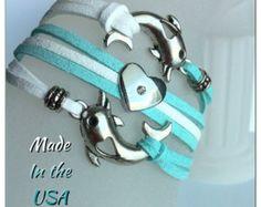 I love Dolphins bracelet, Charm bracelet, Friendship bracelet