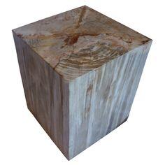 Polished Square Petrified Wood Stool – Organic Findings