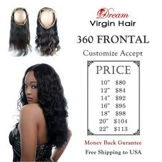Retail price for 360 lace frontal,for wholesale price pls leave us a message