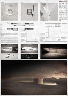 """Imagen 7 de 9 de la galería de Resultados Concurso Para Estudiantes y Jóvenes Arquitectos """"Museo Internacional de Astronomía IMOA en el Desierto de Atacama"""". Lámina Mención Honorífica IMOA 1909"""