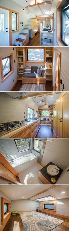 With its soft gray wall, rich hardwood floors, and fir trim, the Kestrel by Rewild Homes offers a comfortable, stylish living space. #tinyhouses #tinyhouseonwheels #tinyhome