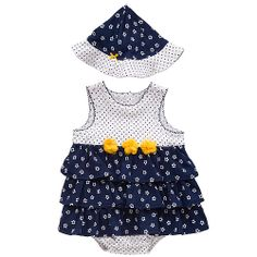"""Little Me Girls Navy Flower Sleeveless Popover Bodysuit Layered Dress with Matching Hat - Mamiye Brothers - Babies """"R"""" Us"""