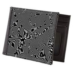 Black and white chic geometric pattern Mens Wallet