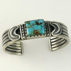 Kingman Turquoise Cuff by Pete Johnson - Garlands Indian Jewelry