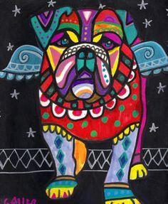 BULLDOG Art Dog Poster PRINT Painting Abstract Pop Art 8X10