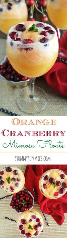 Orange Cranberry Mimosa Floats - I'd use sparkling cider, but it looks great.