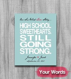 Six Word Love Story Quote Personalized Fiance Engagement Wedding Gift Typography Poster Names High School Sweetheart on Etsy, $20.00