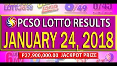 PCSO Lotto Results - January 24, 2018 | 6/55, 6/45, 4D, SWERTRES & EZ2 L... Lotto Results, January 2018, December, Youtube, Youtubers, Youtube Movies