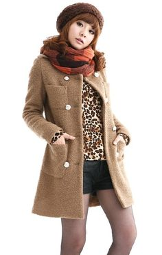 Korean Fashion Double Breasted Woolen Coat - BuyTrends.com
