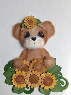 Sunflower Garden Girl Tear Bear Scrapbook Paper Piece ELITE4U 3PAPERWISHES | eBay