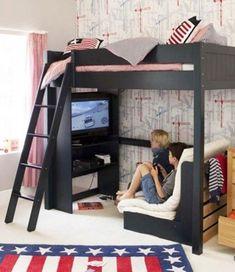 High sleeper bed - Exciting Imaginative Bedroom Ideas For Kids Futon Design, High Sleeper Bed, Awesome Bedrooms, Awesome Beds, Cool Kids Bedrooms, Beautiful Bedrooms, Dream Rooms, Girls Bedroom, Kids Rooms