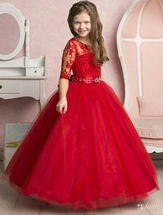 Red Half Sleeve Princess Girl Birthday Wedding Party Formal Flower Girls Dress Baby Pageant Dresses on Luulla