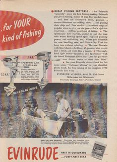 """2-PAGE 1950 EVINRUDE """"FASTWIN"""" & """"FLEETWIN"""" OUTBOARD MOTOR AD"""