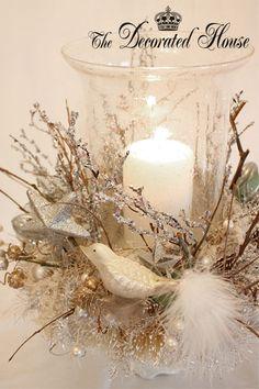 ~ White & Silver Christmas Centerpiece
