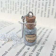 Silver Unicorn Blood Bottle Necklace / Pendant / Bookmark / Earrings / Decoration / Keyring inspired by Harry Potter by EnchantedBottleCraft on Etsy