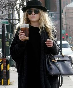 Mary Kate Olsen | layering inspiration | accessories | black on black
