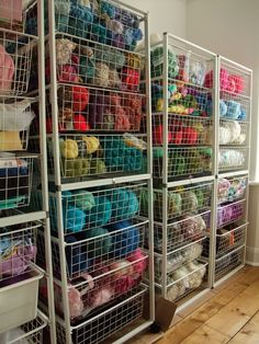crafts Organization Yarn - Flowers, Flowers and More Flowers! And a shiny new work space woo hoo! Yarn Storage, Craft Room Storage, Storage Ideas, Craft Rooms, Knitting Storage, Storage Systems, Paper Storage, Fabric Storage, Knitting Room