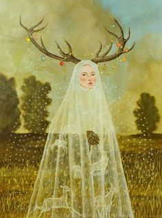 pastorofmuppets: red-lipstick: Anne Siems - Antler Girl, 2012 Paintings Just love the way she makes the dresses see thru.antlers are just SO right now, of course, invisibility is this seasons colour….or lack thereof….AND it's very slimming! Art And Illustration, Illustrations, Art Inspo, Painting Inspiration, Nanu Nana, Arte Peculiar, Ouvrages D'art, Wow Art, Pop Surrealism